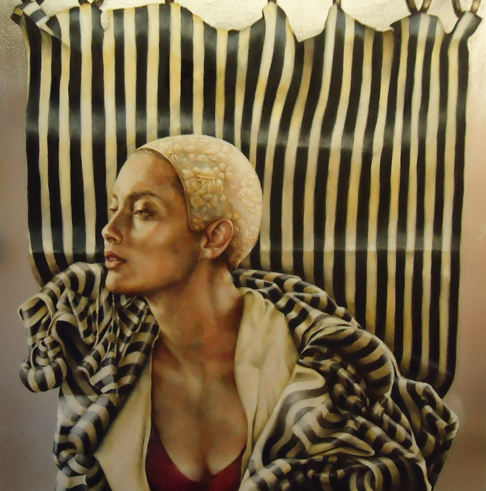 Pam Hawkes  |  Still Here  |  Oil on metal leaf gilding on canvas  |  40 x 40 inches or 101 ½ x 101 ½ cm