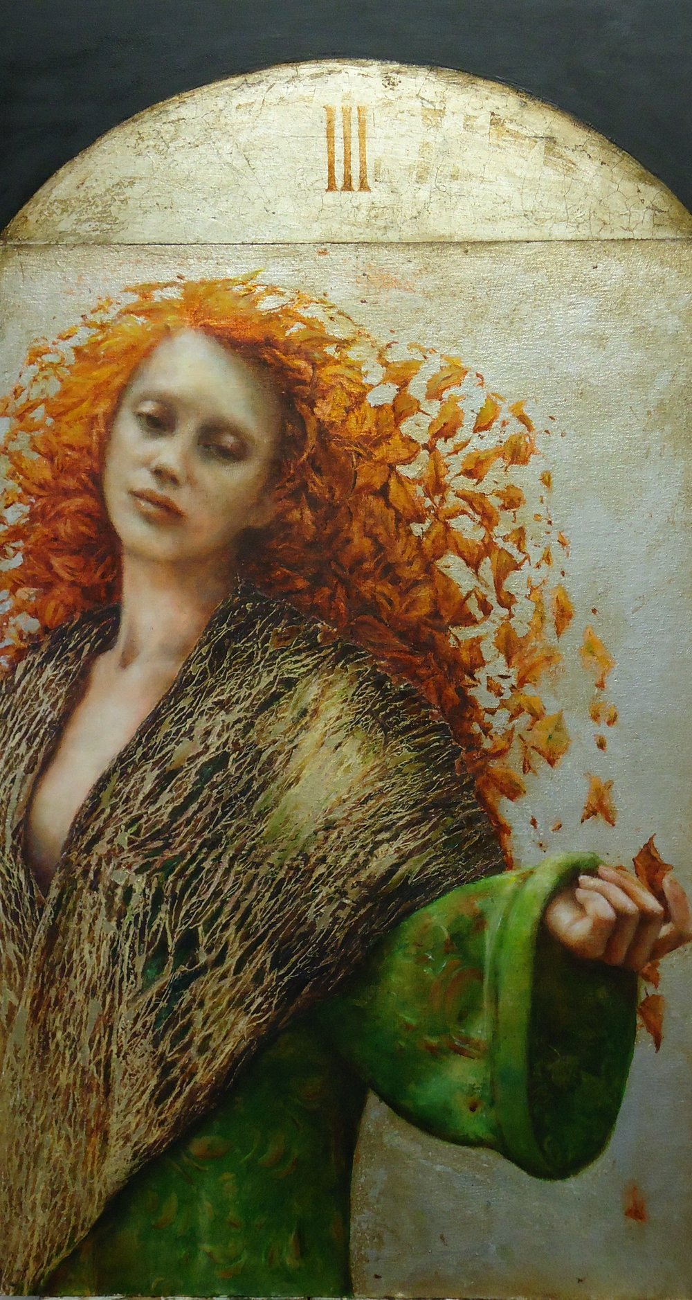 Pam Hawkes  |  Autumn (No. III of the Seasons series)  |  Oil, beeswax & metal leaf on board & canvas  |  34 ½ x 19 ¼ inches or 88 x 49 cm