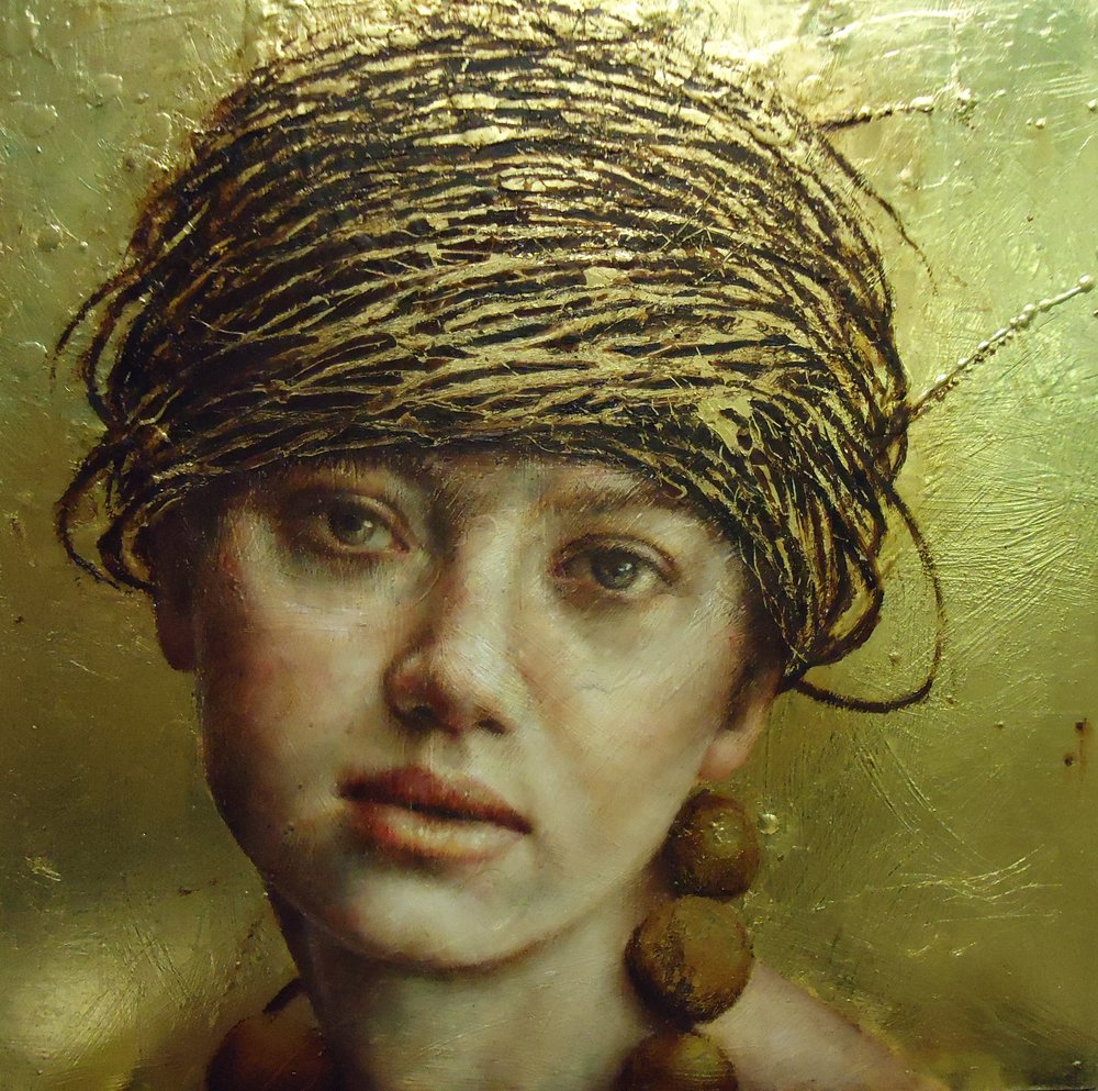 Pam Hawkes  |   Nesting   |  Oil, beeswax & metal leaf on board  |  15 ¾ x 15 ¾ inches or 40 x 40 cm