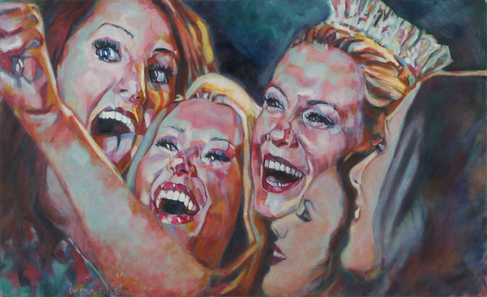 Daena Title  |   Miss Selfie   |  Oil on Canvas|  27 ½ x 45 inches or 69 ¾ x 114 ¼ cm