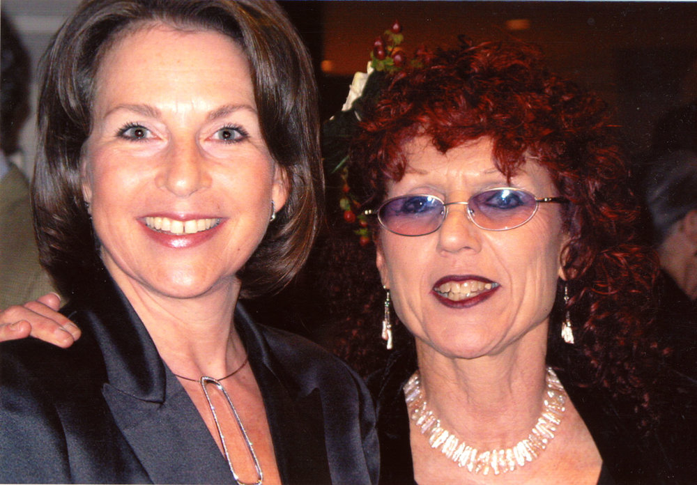Elizabeth Sackler and Judy Chicago at the opening of Judy Chicago: A Survey at the National Museum of Women in the Arts (Washington, D.C., 2002)