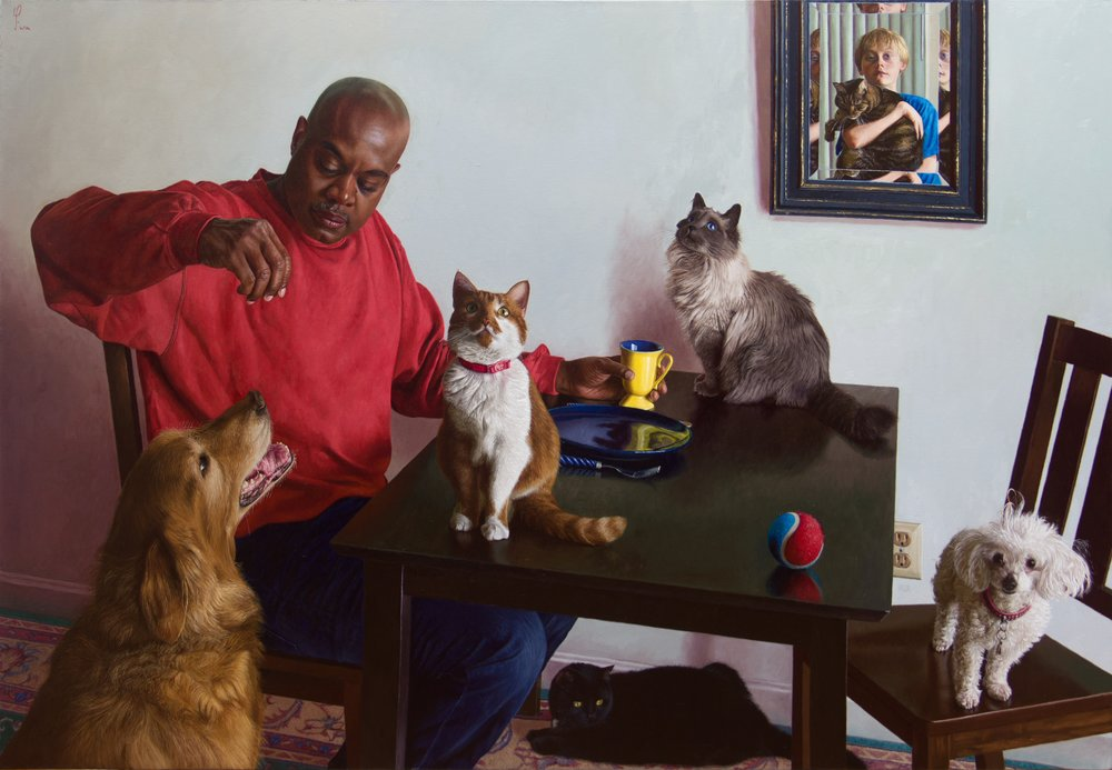 Wim Heldens  |   Cats & Dogs     |  Collection MEAM Barcelona  |  Oil on canvas  |  40 x 58 inches or 101 ½ x 147 ½ cm