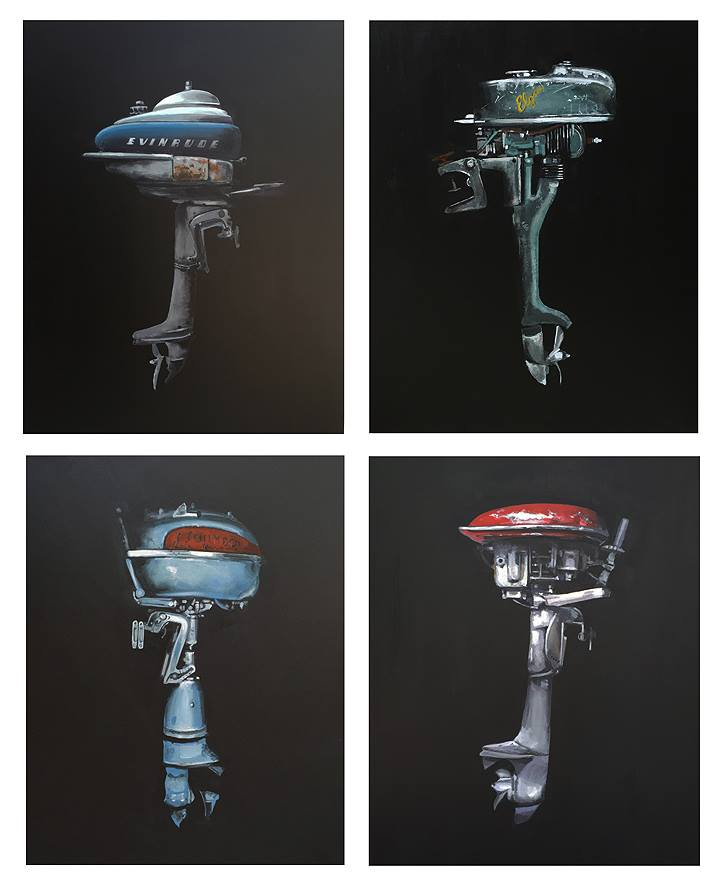 "Jeff Bess | Vintage outboard motors | 30""x24"" acrylic canvas  Evinrude (sold) 