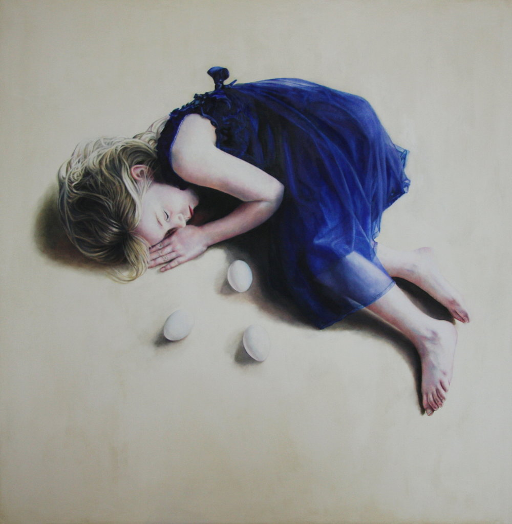Katy Sullivan  |   Blue   |  Oil on board  |  29 ½ x 19 ½ inches or 75 x 75 cm