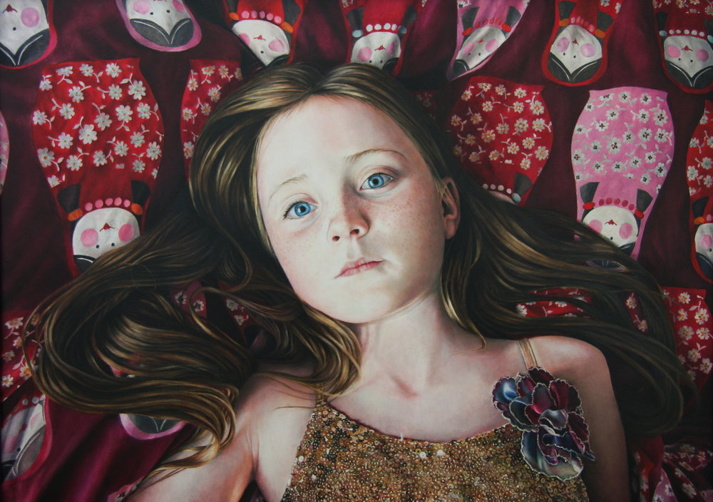 Katy Sullivan | Sequins and Dolls | Oil on board | 22 ½ x 31 ½ inches or 57 x 80 cm