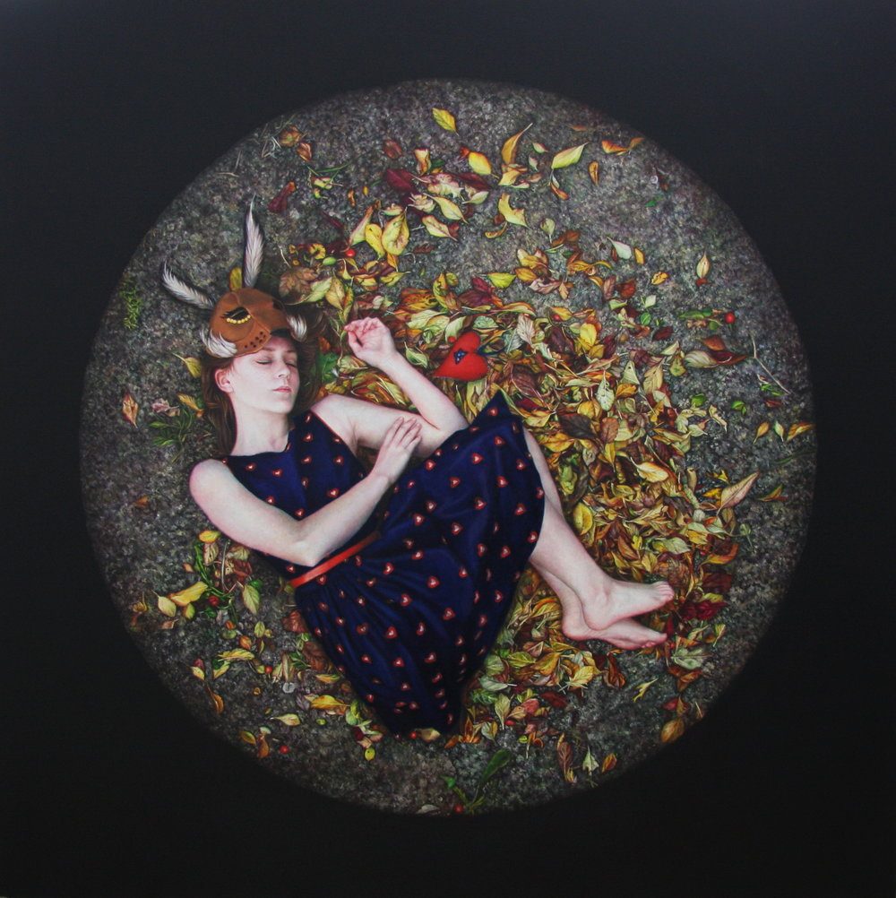 Katy Sullivan  |   Sleeping Hare   |  Oil on board  |  28 ¼ x 28 ¼ inches or 72 x 72 cm