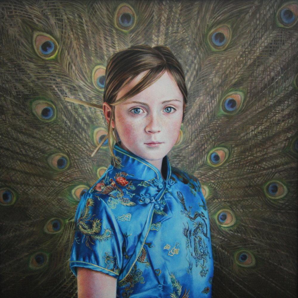 Katy Sullivan | Peacock | Oil on board | 18 x 18 inches or 46 x 46 cm
