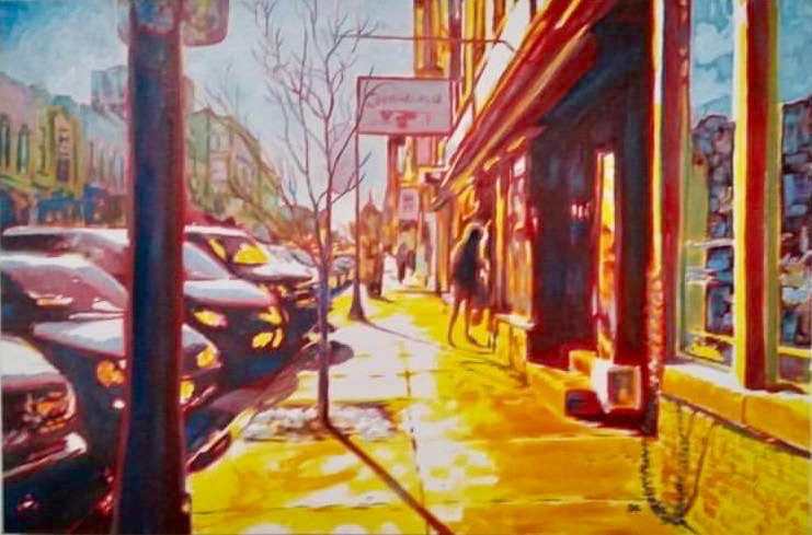 Painting by Seth Gordon of Downtown Bloomington | oil on canvas | Available from Main Gallery 404