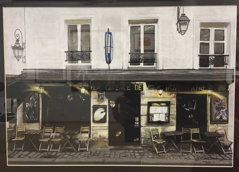 Michelle Ashby use of pastel in her La Taverne de Montmartre is truly masterful. I have struggled to avoid the reflections and it does affect the quality of image, but  the work has a deep velvety quality of mezzotint, which is quite remarkable.