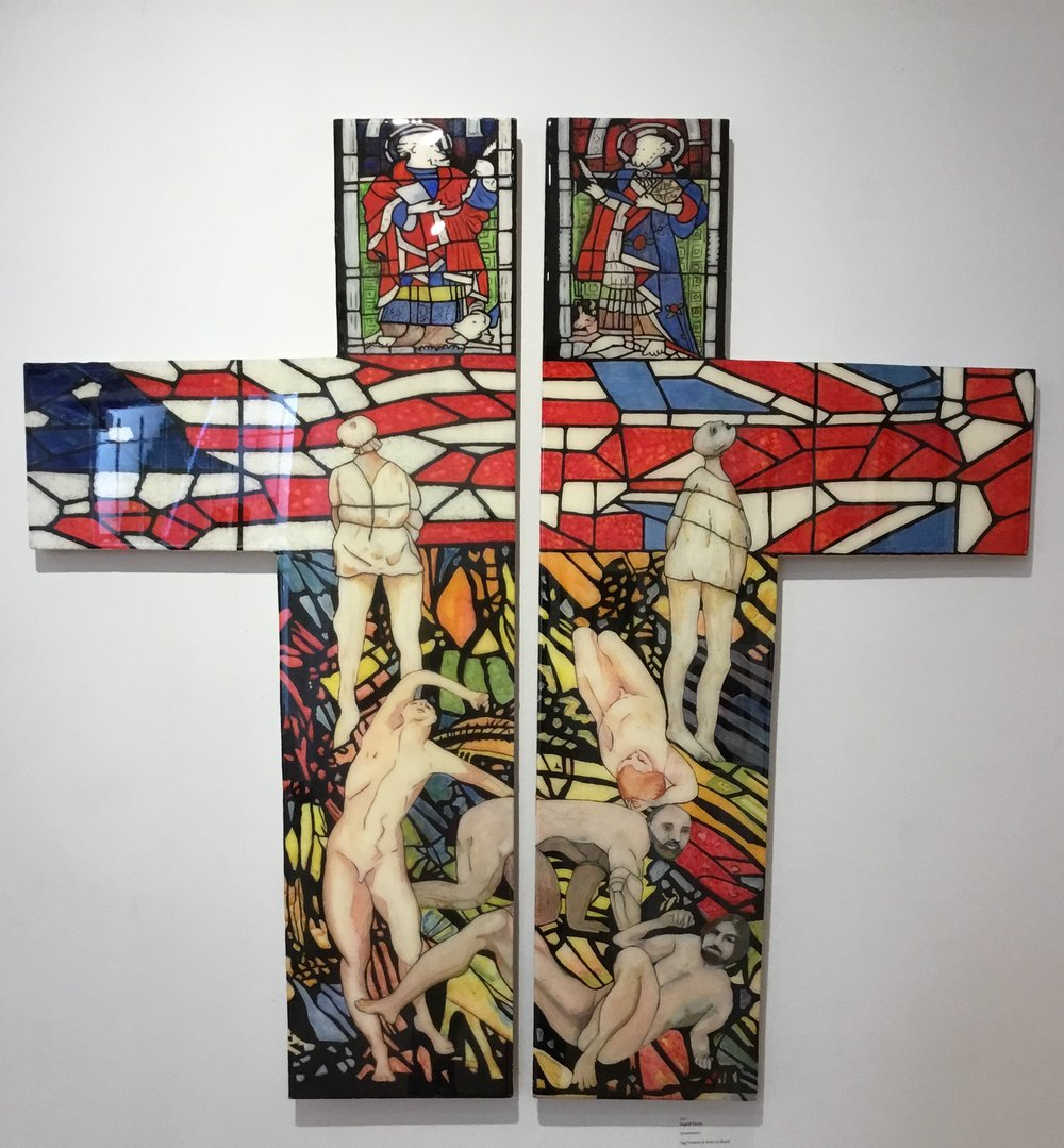 Ingrid Lucas, Incarceration. Egg tempera and resin on board, an interesting decision on choice of format and visual effect of stained glass in church.