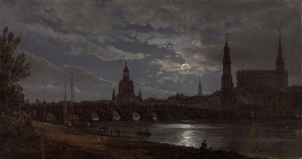 I. C.Dahl, View of Dresden by Moonlight, 1838