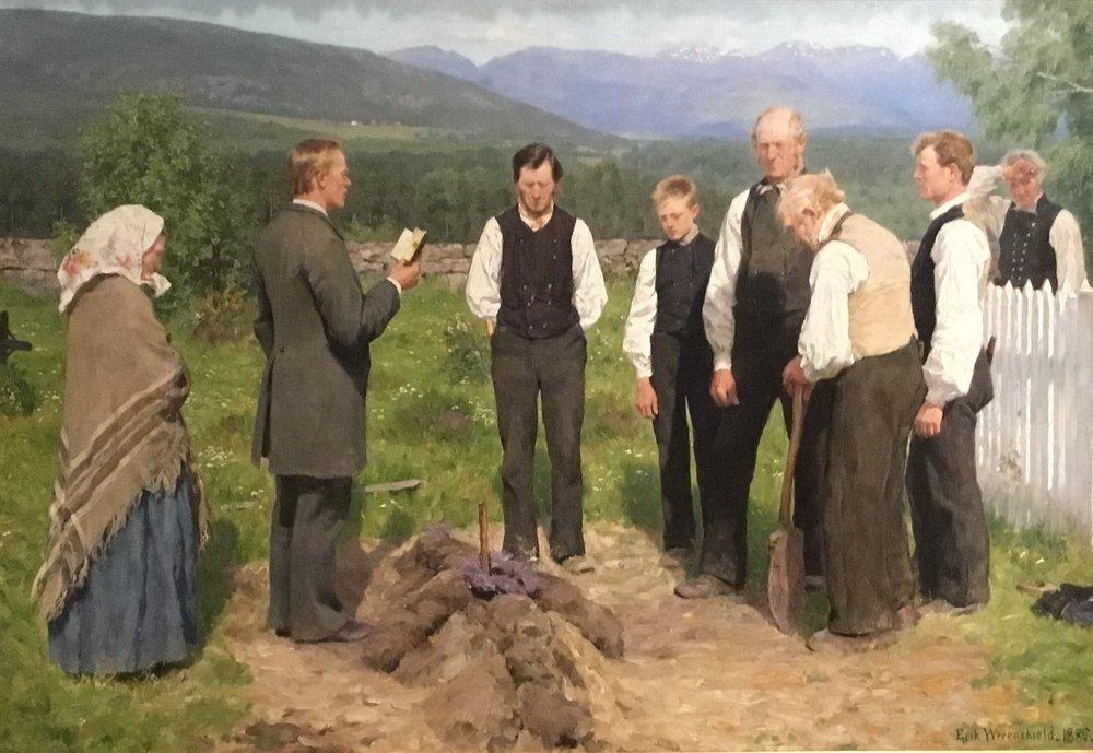 Erik Werenskiold, Peasant Burial (1885)
