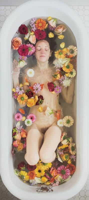 Lee Price, Flowers, 2015, oil on linen, 29 x 65 inches
