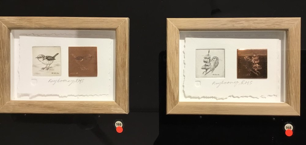 Roy Cooney | Robin  |line engraving original print and copperplate and  Blue Tit  |line engraving original print and copperplate