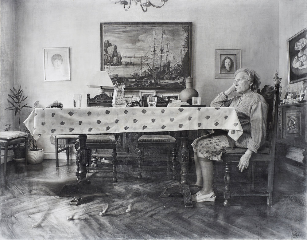 Fausto Martín  |  La Sobremesa  |  Graphite on panel  |  44 ¾ x 57 ½ inches or 114 x 146 cm  |  Honorable Mention Figurativas IX