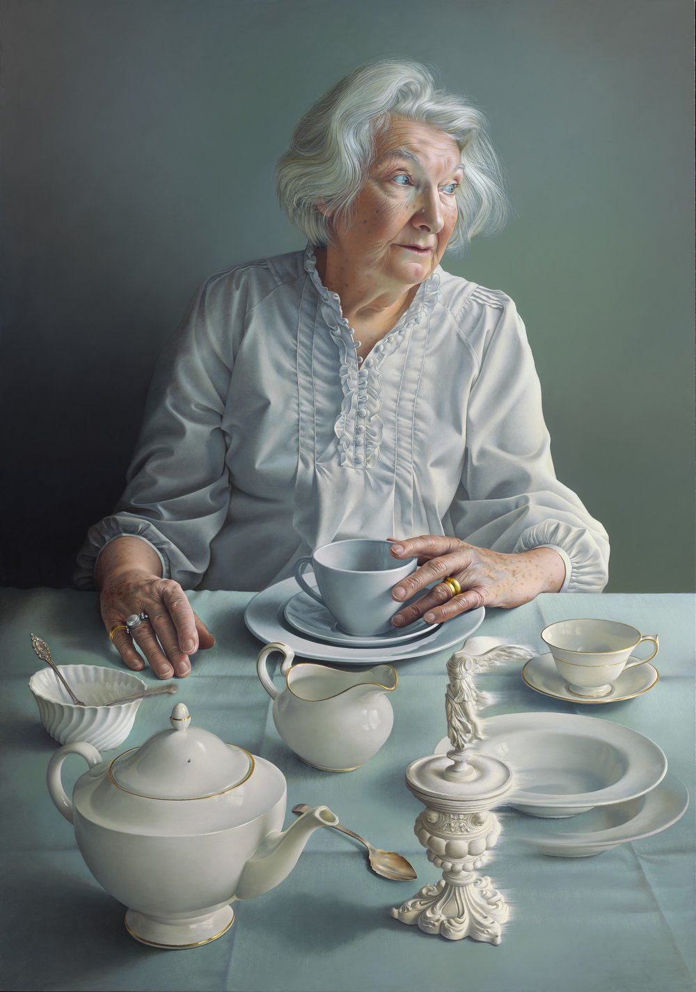 Miriam Escofet Allen |  An Angel at my Table – Portrait of my Mother  |  Oil on canvas  |  39 ¼ x 27 ½ inches or 100 x 70 cm