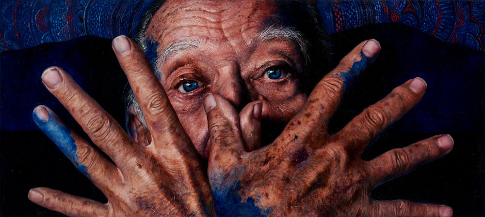 Ermilo Espinosa Torre  |  El hombre viejo se eleva y vuela  |  Oil on canvas  |  31 ½ x 70 ¾ inches or 80 x 180 cm