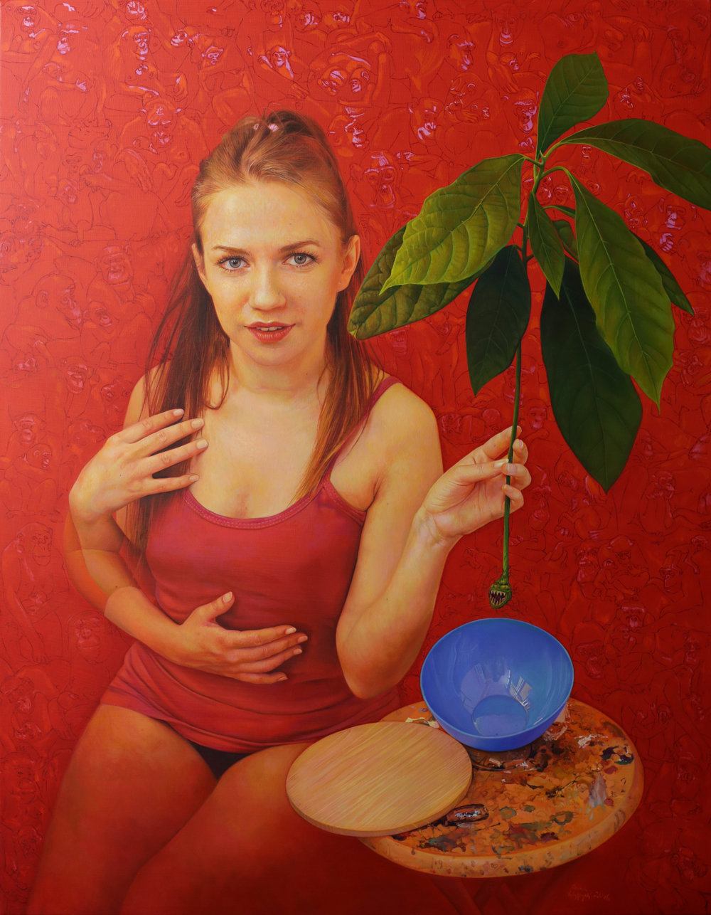 Anna Wypych  |   Red   |  Oil on canvas  |  35 ½ x 27 ½ inches or 90 x 70 cm