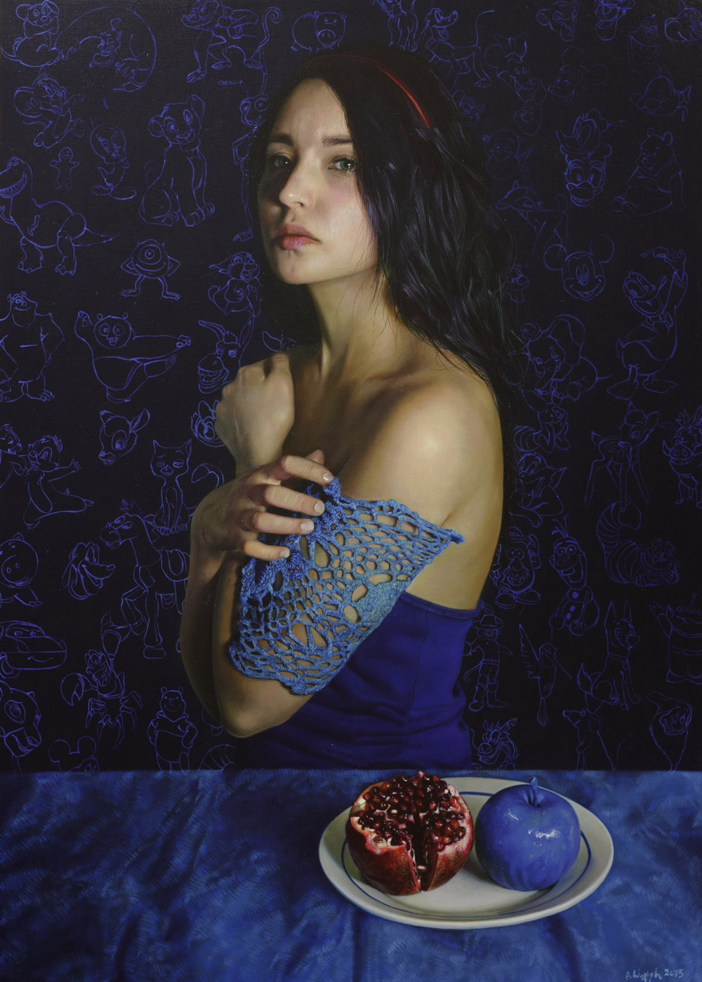 Anna Wypych  |   Blue   |  Oil on icon panel  |  27 ½ x 20 inches or 70 x 50 cm