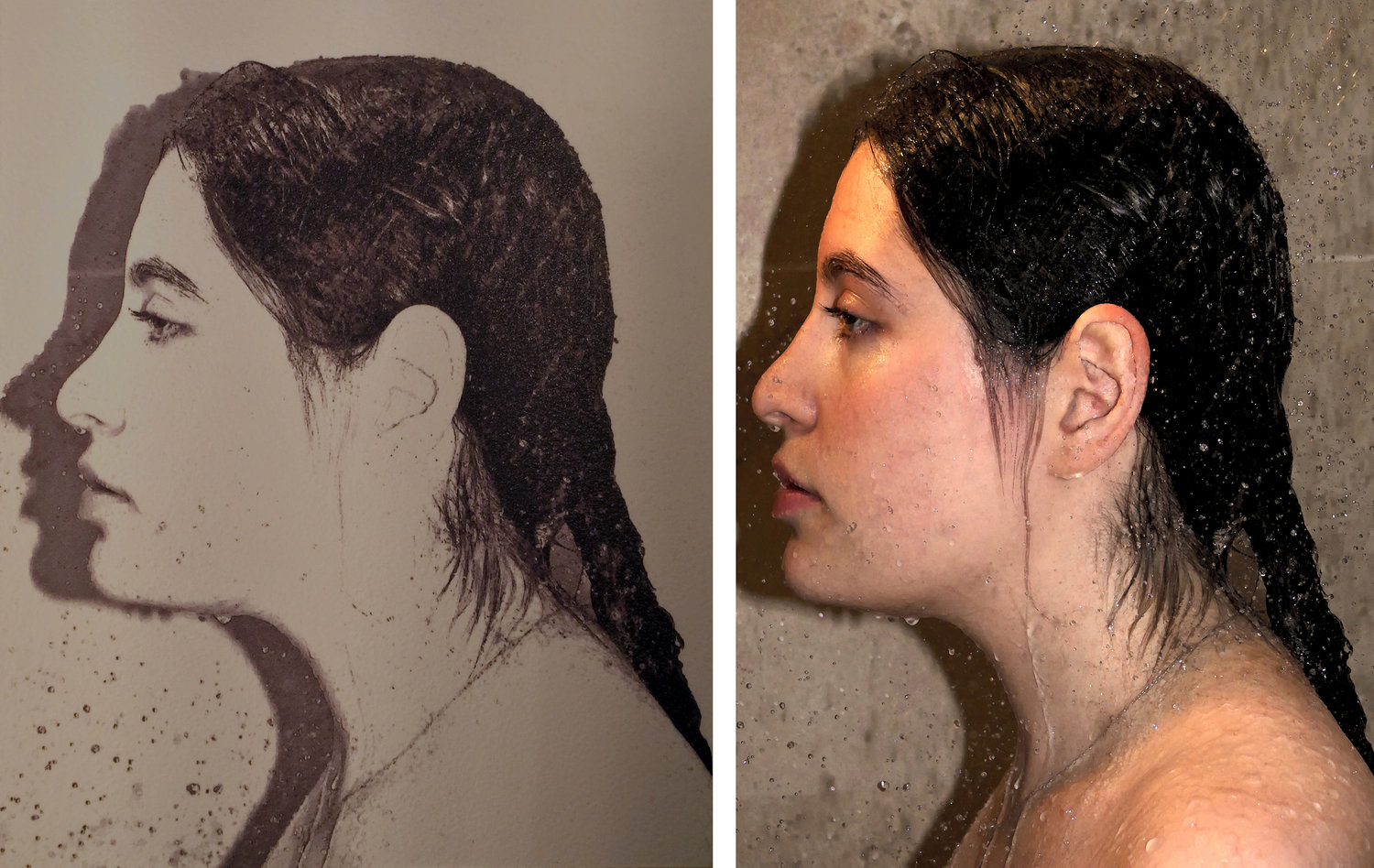Sheryl Luxenburg  |  Dread (In the Shower Series)  |  Left: Preliminary Ink Drawing on paper -  Right: Final Acrylic on linen  |  36 x 24 inches or 91 ½ x 61 cm