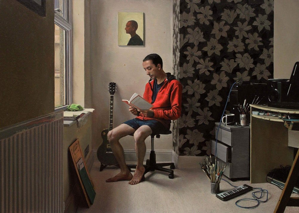 Raoof Haghighi, The Reader, oil on canvas, 50x70cm