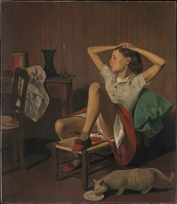 Thérèse Dreaming  Artist: Balthus (Balthasar Klossowski) (French, Paris 1908–2001 Rossinière)  Date: 1938  Medium: Oil on canvas  Dimensions: 59 x 51 in. (149.9 x 129.5 cm)  Classification: Paintings  Credit Line: Jacques and Natasha Gelman Collection, 1998