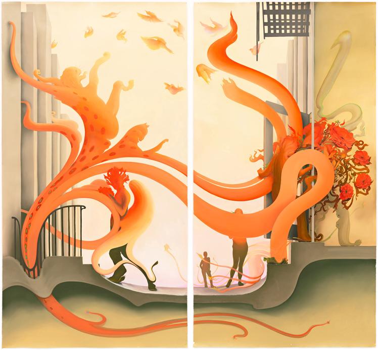 Inka Essenhigh |  City Blossom  | 2014 | oil on paper | 96x51 each panel