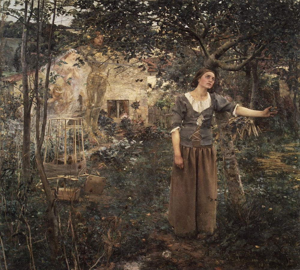 "Jules Bastien-Lepage,  Joan of Arc listening to the Voices , 1879, 100"" x 110"", oil on canvas"