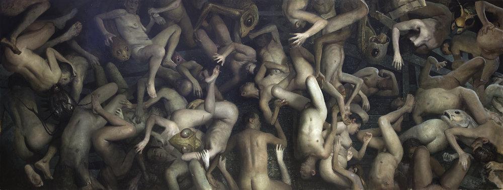 """Vincent Desiderio, Theseus, 2016, 62"""" x 164"""", oil on canvas"""