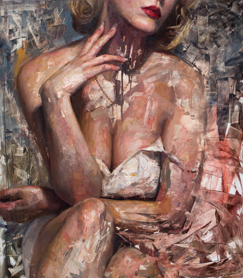 "American Beauty - 48x42 inches oil on panelTalbert's lavish painting, entitled American Beauty, shows a closely cropped female figure in a seductive pose, reminiscent of Marilyn Monroe. The strength of this piece lies in the chemistry taking place between the smooth face, the painterly limbs, the textural hands, while other areas are hardly painted at all. Symbolizing the fragmentation of American ideals, Talbert defines it as, ""A representation of the United States in decline, but as with any transformation there is always the opportunity for something better to emerge from the chaos."