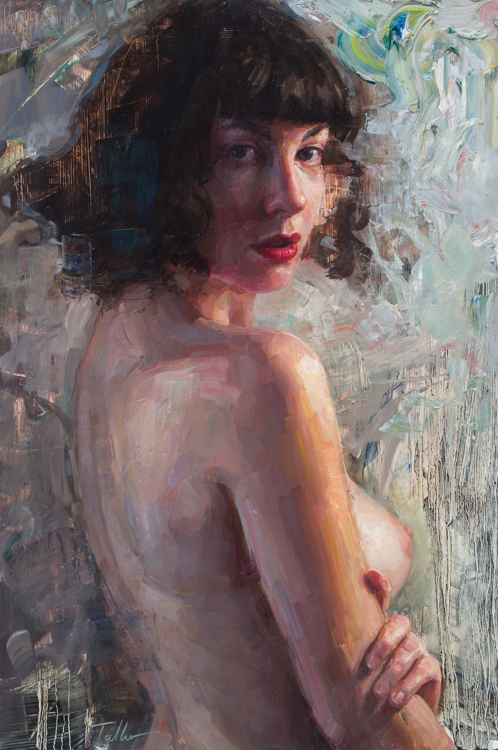 Nothing to Hide - Nothing to Hide 24x16 inches oil on panelInspired by the stirring shadow play on the model's back, Talbert not only succeeds in masterfully capturing her confident and alluring over-the-shoulder gaze but also ironically leaves many things unsaid within the subtle drama of a medley of brushstrokes and scrapes that seem to beckon the viewer to take a closer look.