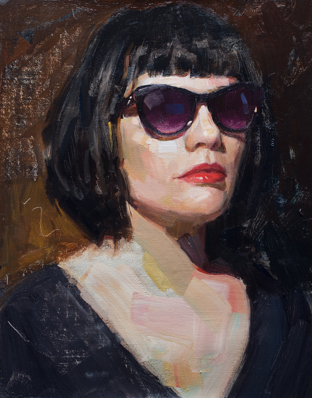 Rock Star  - Rock Star 12x9 inches oil on linen panelTalbert's piece, entitled Rock Star, is a portrait of a close friend. Expressed in an intense chiaroscuro with lots of shrouded color, her eyes hide behind dark sunglasses in order to create emotional tension, encouraging the viewer to try to discern her gaze and gauge her seemingly distant disposition which is contradicted by the gentle curve of her alluring lips.