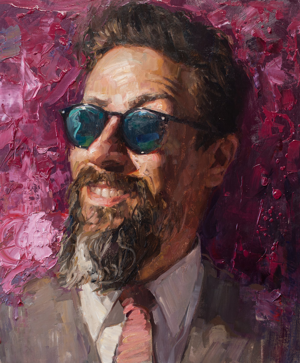 The Sky is Falling  - The Sky is Falling 24x20 inches oil on linen panelIn The Sky is Falling, Talbert portrays a friend with an inane grin on his face, his eyes hidden behind dark shades, with a bright magenta impasto background fiercely elbowing its way into the scene. The alternative and lengthier title given to this painting—Front Row Seat to The End of the World—alludes to current world events and is a commentary on how most people seem to prefer to remain oblivious and passively comatose towards the corrosion of shared ethical and moral values happening all around us.