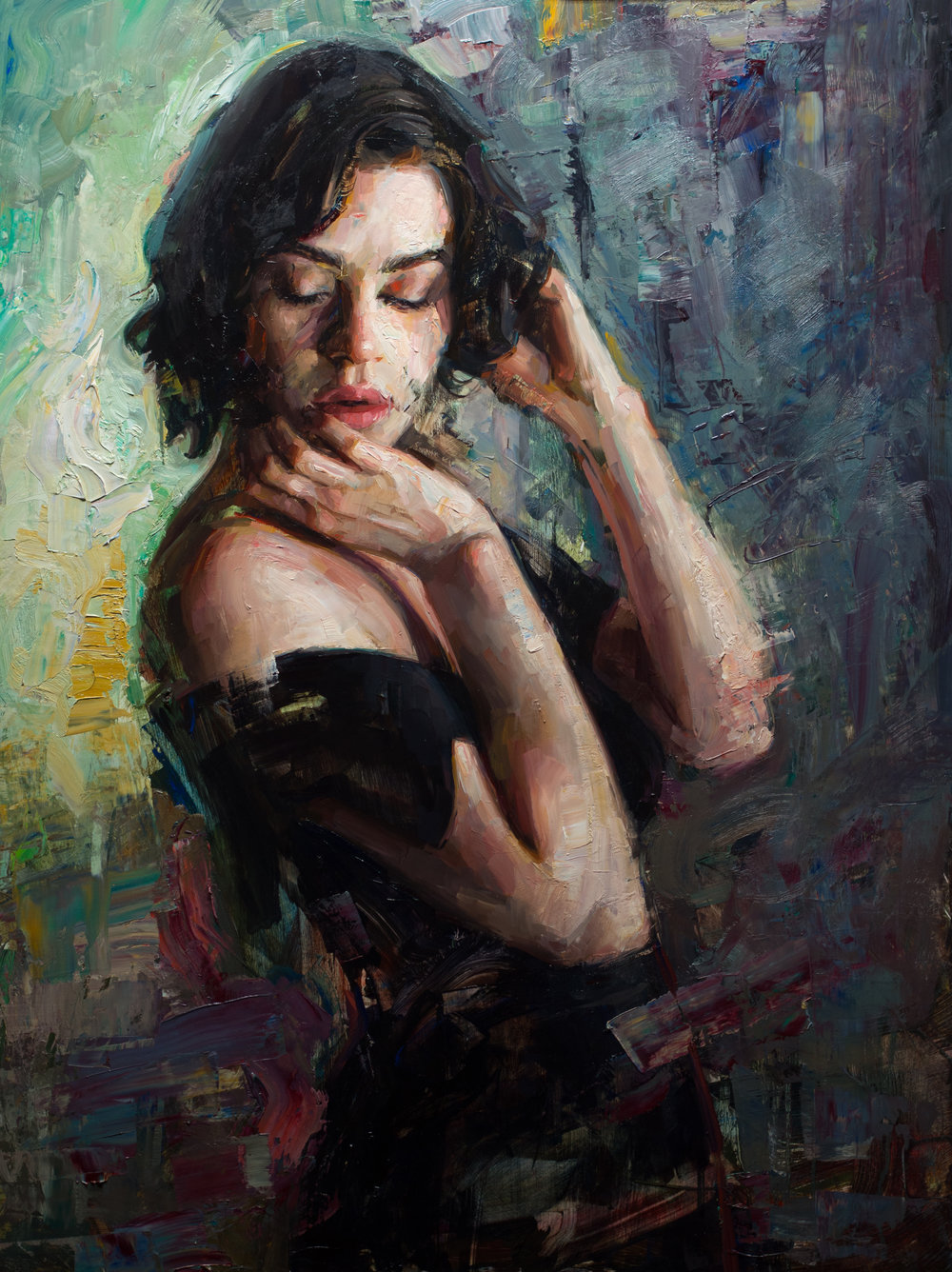 The Muse - The Muse 30x40 inches oil on panel 2017Inspired by the understated yet palpable emotions in his model's pose, Talbert created The Muse, especially focusing on the elegantly arching interplay between facial and gestural expressions. The rough, colorful impasto of the background elevates the refined delicacy of her features and somehow makes her look simultaneously vulnerable and strong.