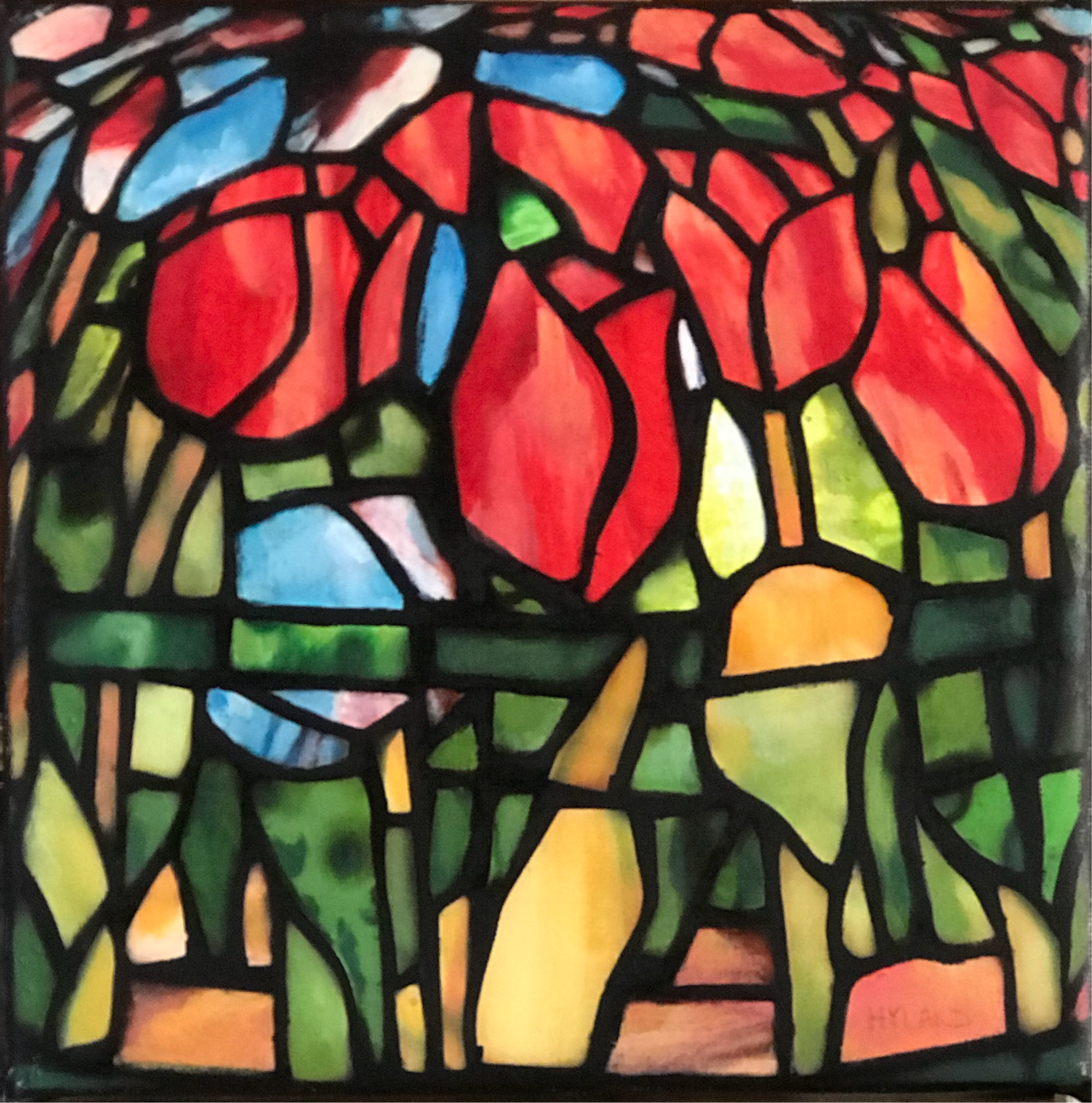 John Hyland │ This Same Flower That Smiles Today │ Oil on Canvas │ 8 inches square or 20 ¼ cm square