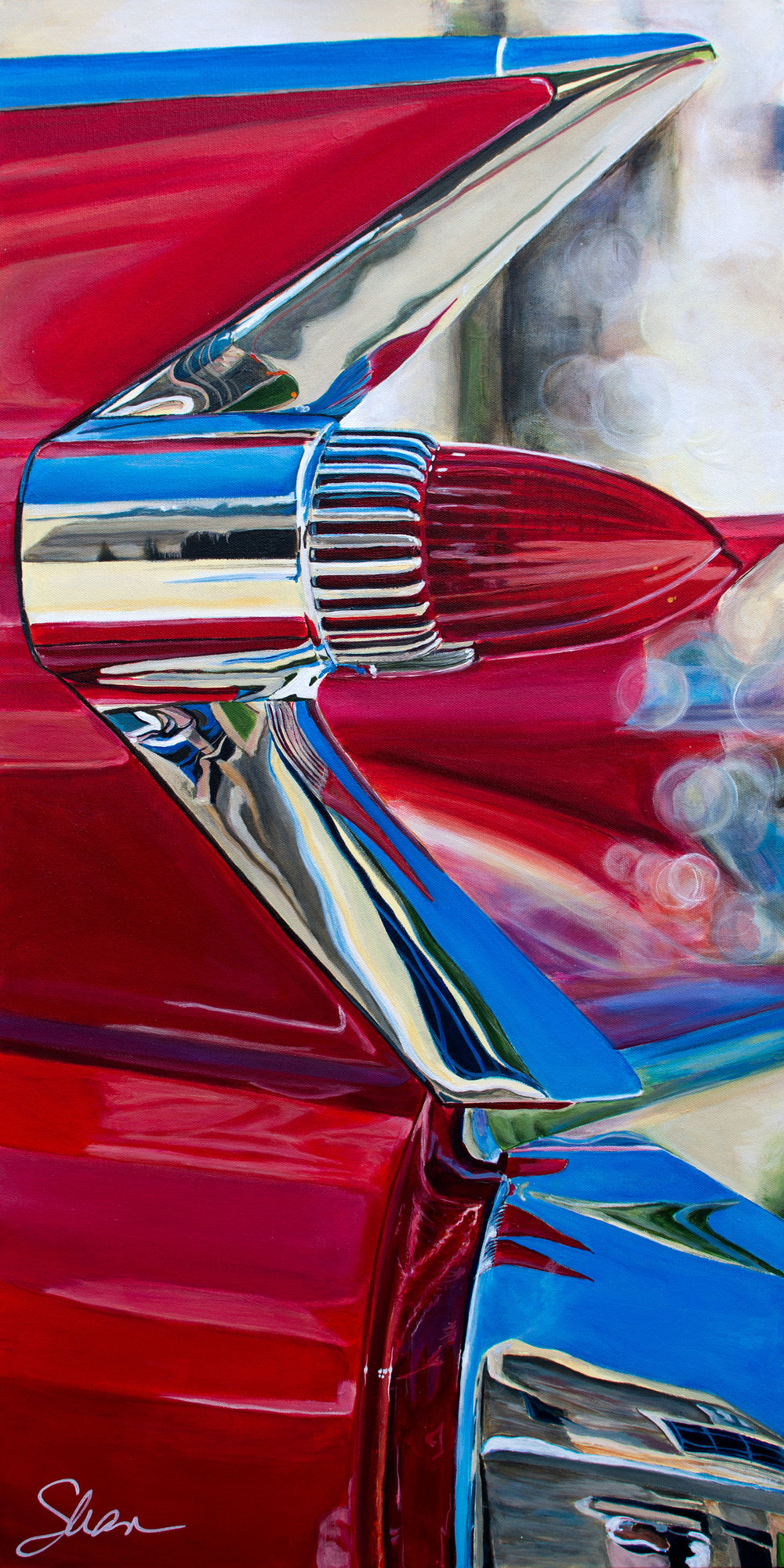 Shannon Fannin │  1959 Cadillac Coupe deVille Red  │ Acrylic on Canvas │ 36 x 24 inches or 91 ½ x 61 cm