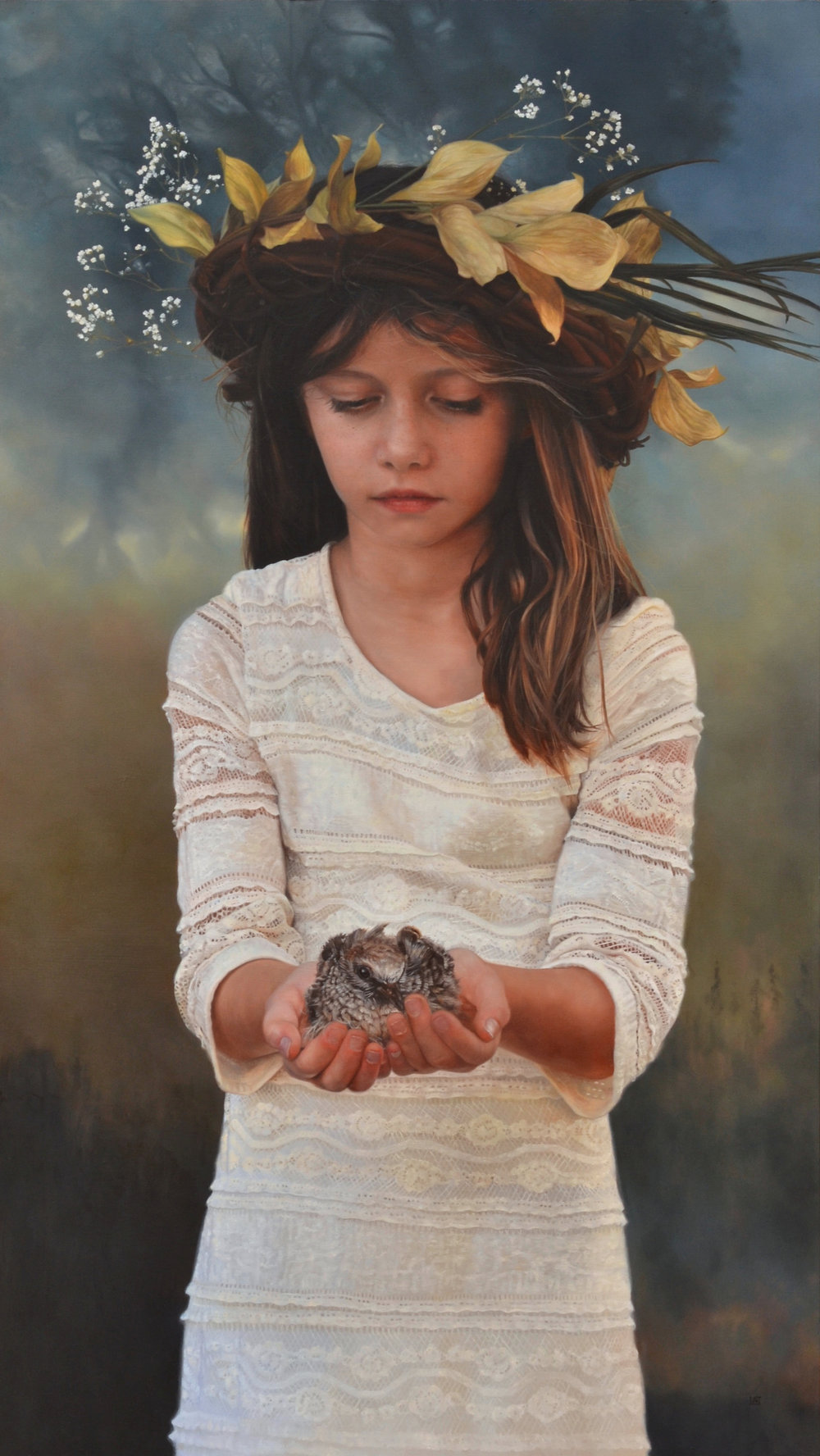 Bird In The Hand oil on panel 39x22