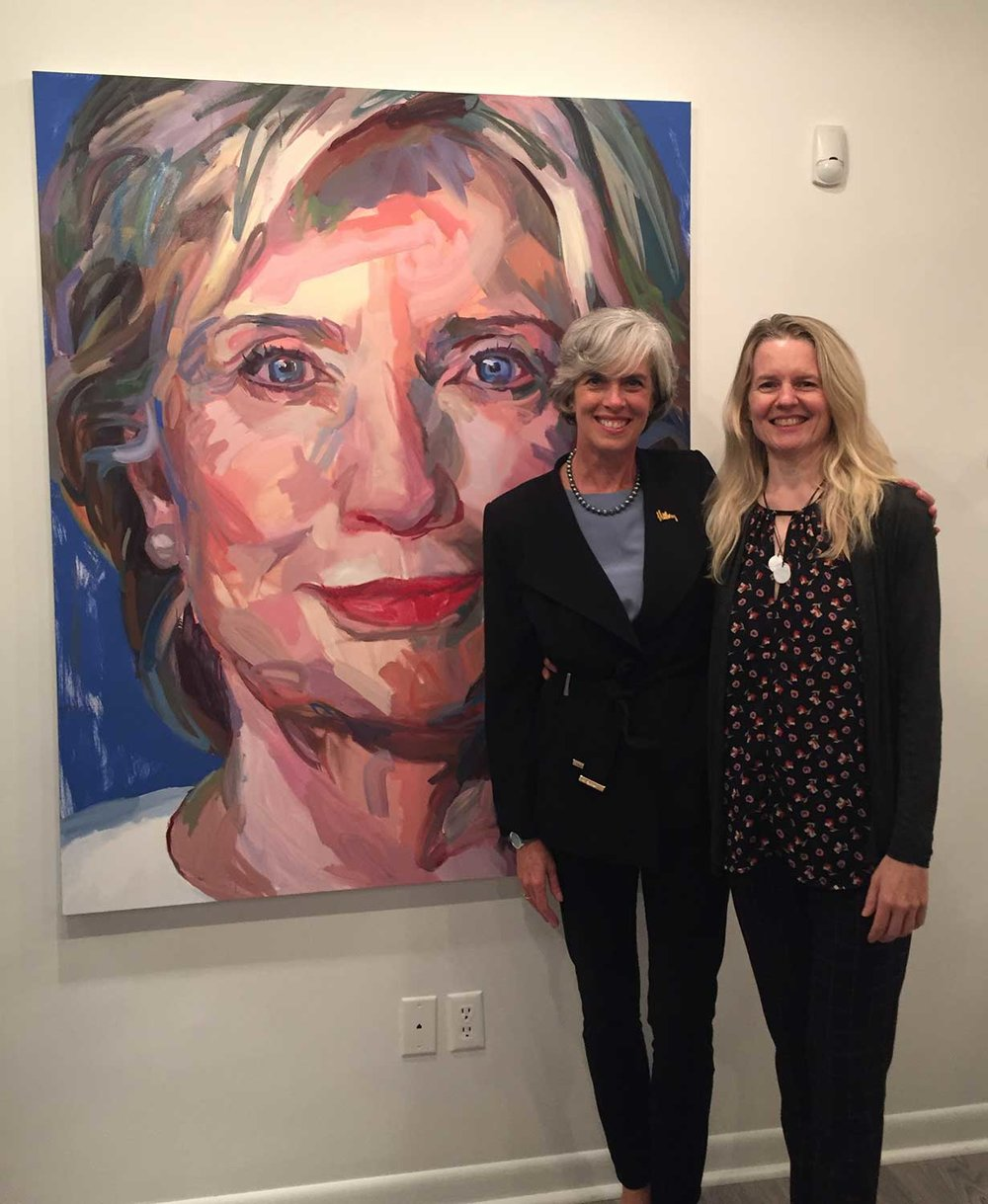 "Jo Hay With Congresswoman Kathleen Clark and Hay's painting Hillary (60""x48"", oil on canvas, 2016)"