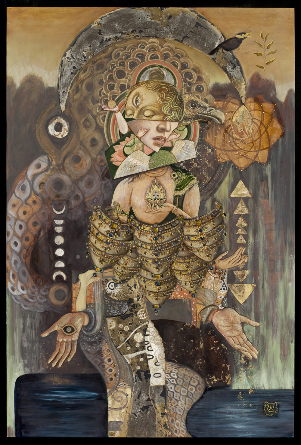 Artemis   | oil and gold leaf on panel | 2015