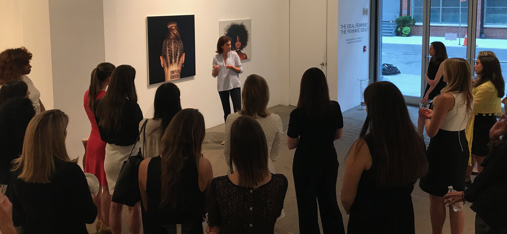 Natasha Schlesinger speaking at Winston Wachter Fine Art