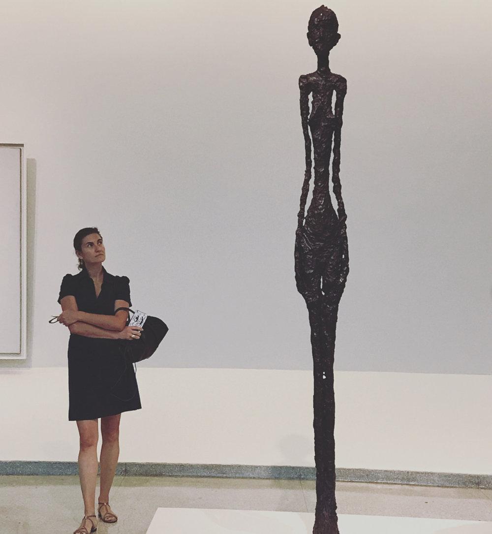 Natasha with Giacometti at the Guggenheim
