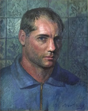 "Facing the World, Self-Portrait , 1998, acrylic on canvas, 16"" x 12"", private collection."