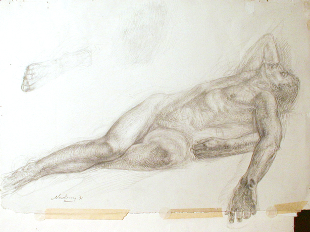 "Male Nude Graphite Study for Pond , on Rives BFK, 22"" x 26"", private collection."