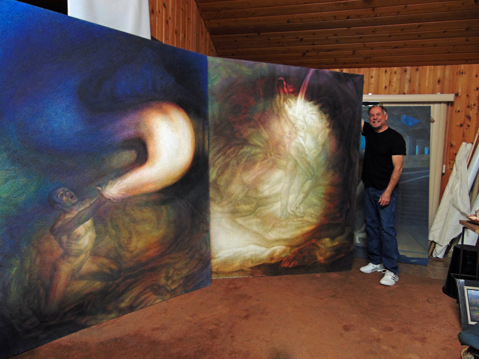 "God Releasing Stars into the Universe  and  Synergy , oil on linen, each 82"" x 66""."