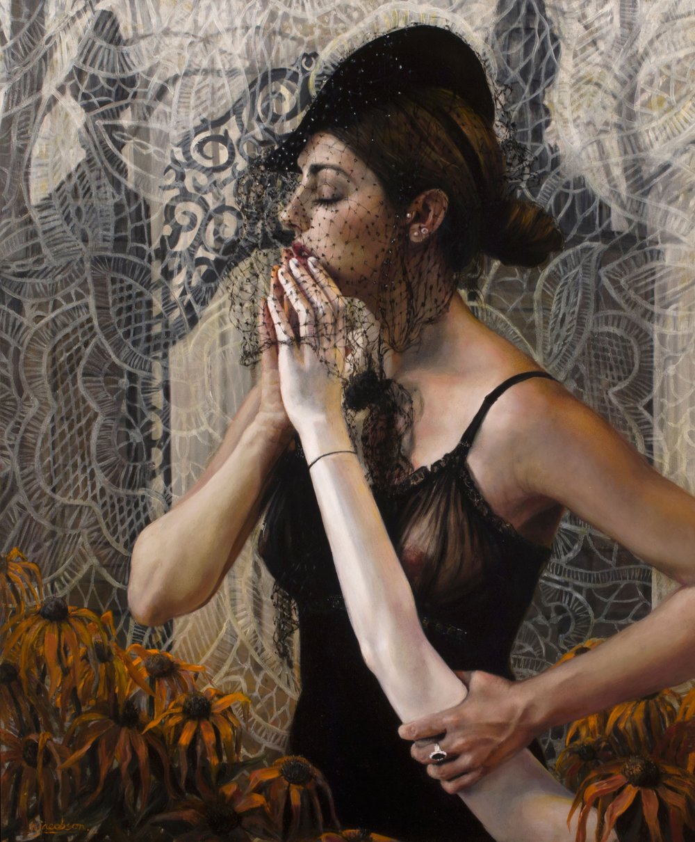 "Regina Jacobson |   Just As I Am   | oil on birch panel | 46""×40"""
