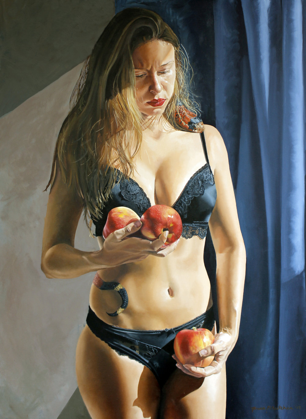 "Teresa Brutcher |   Temptation III   | oil on canvas | 39""×27.5"""