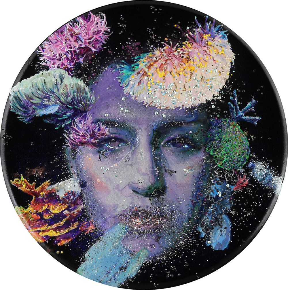 "Plasticized   | acrylic and crystals on canvas | 36"" diameter 