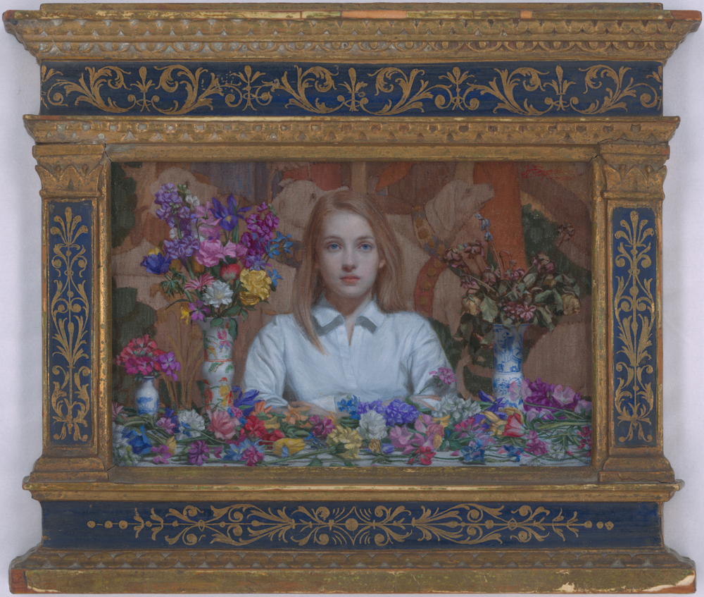 "Hiroshi Furuyoshi |   ELLA   | oil on canvas laid on board | 3.75""×5.5"""