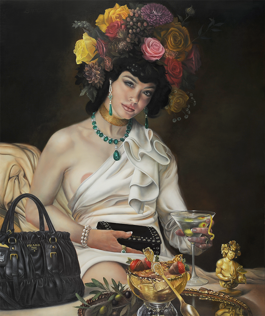 "David Bowers |   Goddess of Decadence   | oil on linen | 20""×24"""