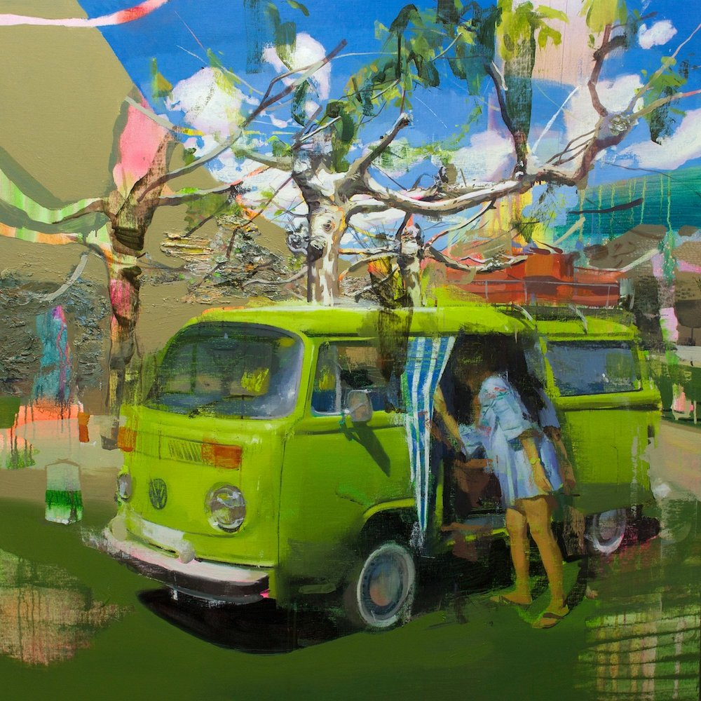 Jose Luis Ceña Ruiz | The mystery of the green van  | 120x120 cm | oil on linen